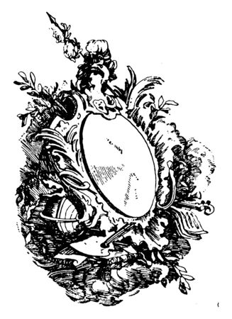 Rococo Strap-Work Frame was unsymmetrical arrangements, vintage line drawing or engraving illustration.