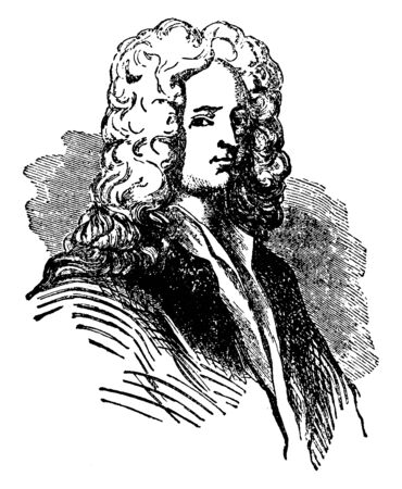 Joseph Addison, 1672-1719, he was an English essayist, poet and politician, vintage line drawing or engraving illustration Foto de archivo - 133023108