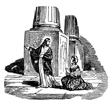 Jesus sends that woman and says her not to do any sin now, vintage line drawing or engraving illustration.