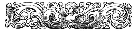 Cherub Divider have decorated with a cherub's face and floral ornaments in this picture, vintage line drawing or engraving illustration.