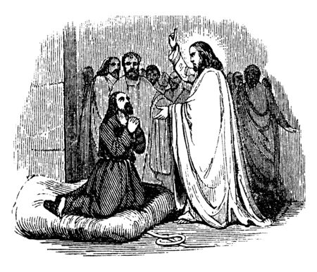 In this painting, the mended Samaritan outcast is on his knees and expressing gratitude toward Jesus. Two supporters are remaining behind Jesus, vintage line drawing or engraving illustration.