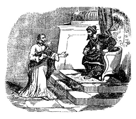 Joseph is asking for the body of Jesus from Pontius Pilate who was responsible for crucifixion of Jesus, vintage line drawing or engraving illustration.