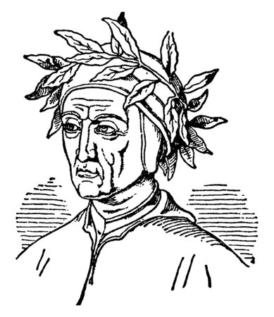 Alighieri Dante, c. 1265-1321, he was a major Italian poet of the late middle ages, vintage line drawing or engraving illustration Foto de archivo - 133023236