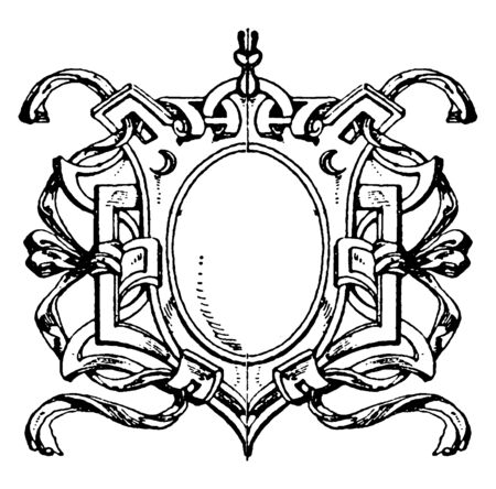 Renaissance Strap-Work Frame is French design, vintage line drawing or engraving illustration.