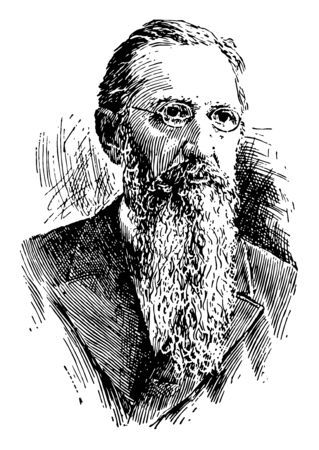 Joseph Fielding Smith, 1838-1918, he was an American religious leader and the president of The Church of Jesus Christ of Latter-day Saints, vintage line drawing or engraving illustration