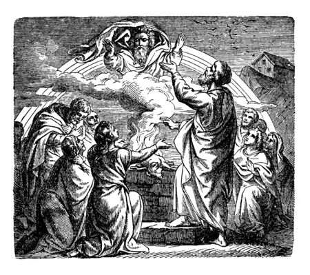In this image an angels seen middle of clouds & many people in the earth respect him, vintage line drawing or engraving illustration. Ilustração