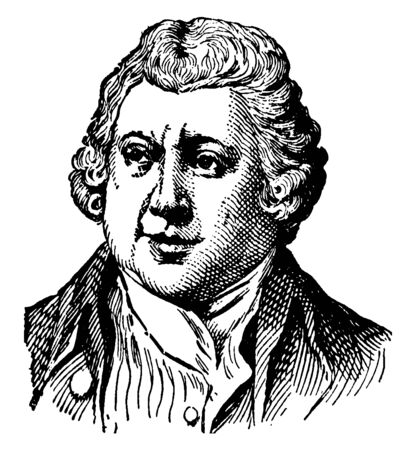 Sir Richard Arkwright, 1732-1792, he was an English inventor, famous for inventing of the spinning frame, vintage line drawing or engraving illustration