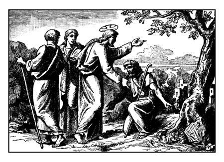 Jesus is speaking with the 10 lepers and one of them is having a stick in his hand. One person is also sitting on his knees and shows his gratitude towards Jesus, vintage line drawing or engraving illustration. Ilustrace