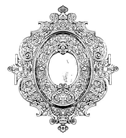 Modern Strap-Work Border And Margin has a rim, it is decorated with pierced work and is outlined in richer work, vintage line drawing or engraving illustration.