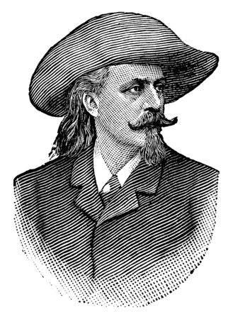 William F. Cody, 1846-1917, he was an American scout, bison hunter, and showman who created Buffalo Bills Wild West Show, famous as Buffalo Bill, vintage line drawing or engraving illustration 向量圖像