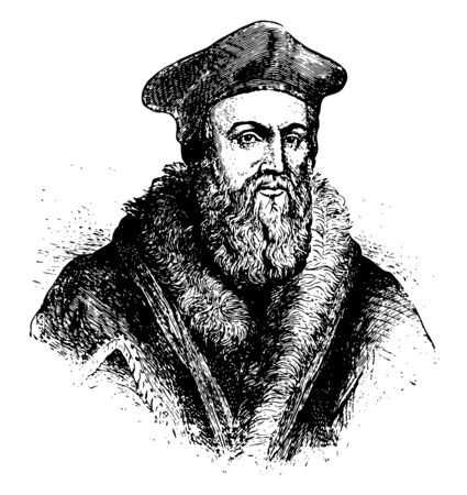 Thomas Cranmer, 1489-1556, he was a leader of the English reformation and archbishop of Canterbury, vintage line drawing or engraving illustration 일러스트