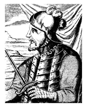 Vasco Nunez de Balboa, c. 1475-1519, he was a Spanish explorer, governor, and conquistador who is most known for having crossed the Isthmus of panama to the pacific ocean in 1513, vintage line drawing or engraving illustration Illusztráció