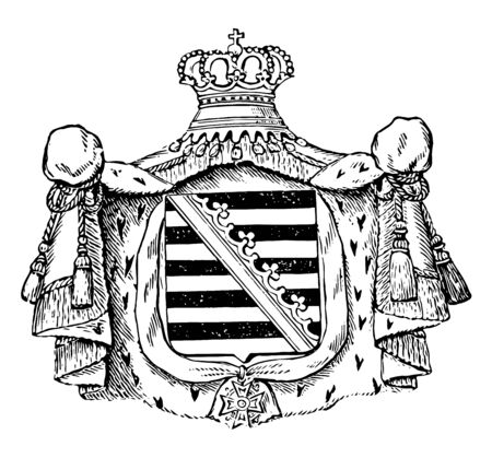 The Great Seal of Saxony is a European Seal, vintage line drawing or engraving illustration. Standard-Bild - 133010019