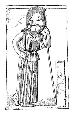 Portrait of Athena with helmet on her head, looking down at a grave while her front head is resting on spear, vintage line drawing or engraving illustration. Vettoriali