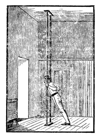 In this picture a man exercising with the upright parallels, vintage line drawing or engraving illustration.