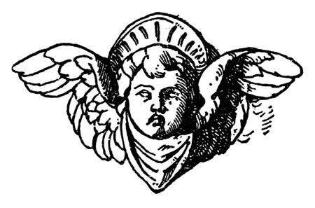 Cherub Head was used on a candelabrum in Certosa near Pavia, vintage line drawing or engraving illustration.  イラスト・ベクター素材