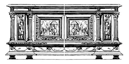 Renaissance Chest belonging to 17th century has 4 short legs to support the rectangular chest having 4 beautiful carvings along the length of box, vintage line drawing or engraving illustration