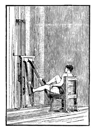 A man sitting on a leg machines chair has spread his legs widely and doing exercise by moving legs up and down on machine, vintage line drawing or engraving illustration.