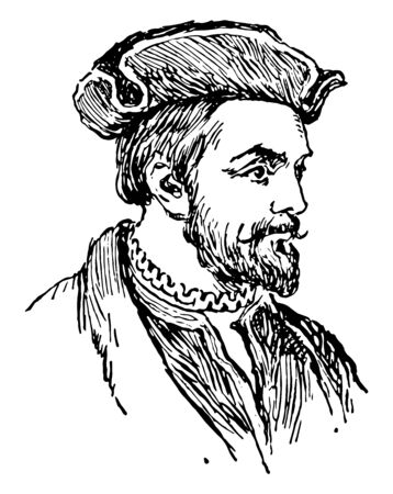 Cartier, 1491-1557, he was a mariner and Breton explorer who claimed what is now Canada for France, vintage line drawing or engraving illustration Ilustração