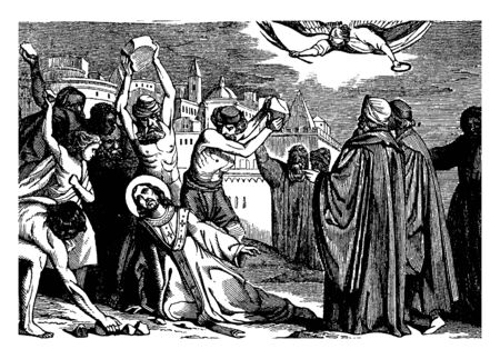 In this picture shows Stephen being stoned to death. An angel is flying above him. He looks up to Heaven. Several men hold stones in their hands, vintage line drawing or engraving illustration. Illustration