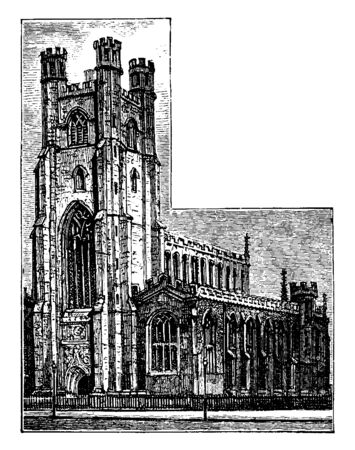 St. Mary's Church Cambridge, parish church in the Diocese of Ely, north end of King's Parade, designated by Historic England, vintage line drawing or engraving illustration.