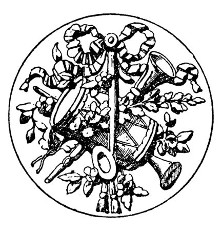 Medallion Symbol is a symbol of a tambourine with flutes, its Designed by sculptor Lehr of Berlin, vintage line drawing or engraving.