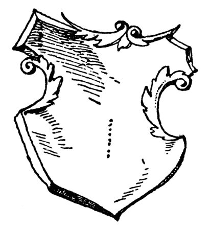 German Shield is a re-introduction of the coat of arms, vintage line drawing or engraving illustration.
