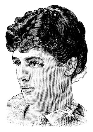 Jennie Churchill, 1854-1921, she was an American-born British socialite, a magazine editor, and talented amateur pianist, vintage line drawing or engraving illustration