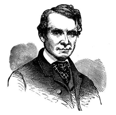 Andrew G. Curtin, 1817-1865, he was a U.S. lawyer, politician, and governor of Pennsylvania, vintage line drawing or engraving illustration