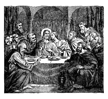 A picture depicts the communion of the apostles with Jesus at the last supper, vintage line drawing or engraving illustration.