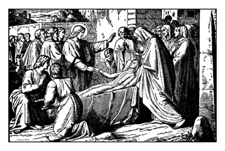 Jesus is giving blessings to a young sick boy and trying to heal him. Boys mother and other people are standing around them, vintage line drawing or engraving illustration.