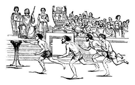 An Ancient Greece game, they were held both the year before and the year after the Olympic Games, vintage line drawing or engraving illustration.