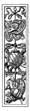 Trophy Door Panel was used as a decoration at a castle in Heidelberg and Germany, vintage line drawing or engraving.  イラスト・ベクター素材