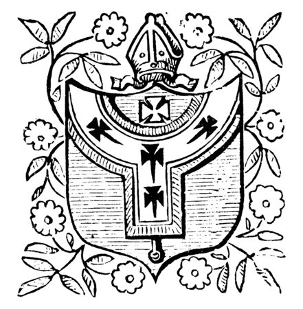 Arms of Canterbury is predate the break between Rome and the Church of England, it is medieval in origin and appeared on official documents , vintage line drawing or engraving illustration. Çizim