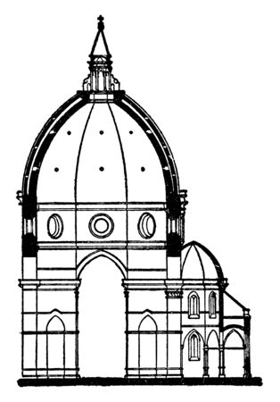 Section of the Dome of Duomo, Florence,  the cathedral church  of Florence, dome designed by Filippo Brunelleschi, exterior facing of polychrome marble panels, vintage line drawing or engraving illustration. 矢量图像