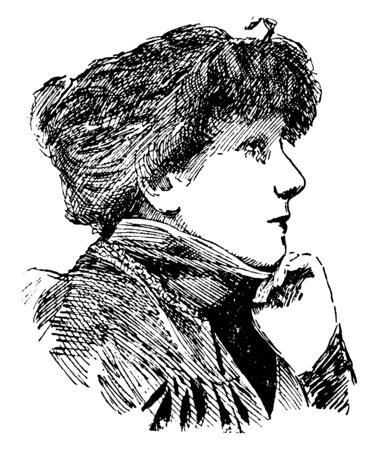 Sarah Bernhardt, 1844-1923, she was a famous French stage actress, vintage line drawing or engraving illustration