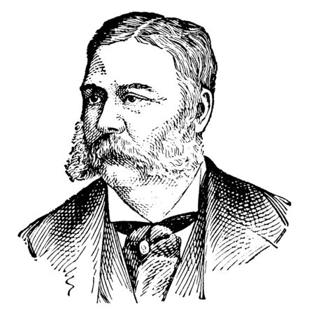 Chester Alan Arthur, 1829-1886, he was an American politician who served as the twenty-first president of the United States of America from 1881-1885, vintage line drawing or engraving illustration