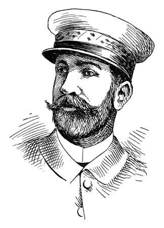 Arsenio Linares, he was a lieutenant-general for the Spanish army, vintage line drawing or engraving illustration