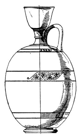 Greek Lekythos is an attic style, it is thus a narrow type of jug, vintage line drawing or engraving.