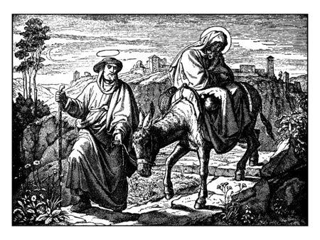 Als die heilige Familie der Verfolgung von König Herodes entkam, machten sie auf dem Weg nach Ägypten Pause, um sich auszuruhen, Vintage-Linienzeichnung oder Gravurillustration. Vektorgrafik