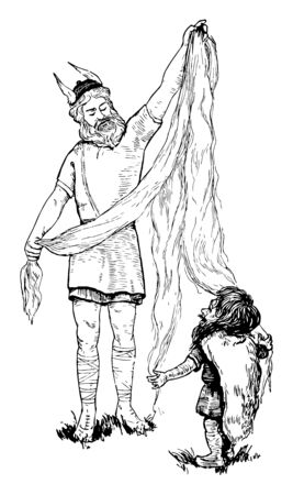 Loki, the god of wickedness, cut off hair of Thors wife. To make something good to replace her hair, it is Dwalin that makes dwarf pure gold, vintage line drawing or engraving illustration.