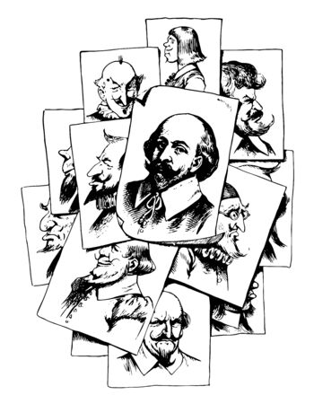 Multiple Portraits of William Shakespeare, he was an English poet and greatest writer in English language, vintage line drawing or engraving illustration Foto de archivo - 133023399