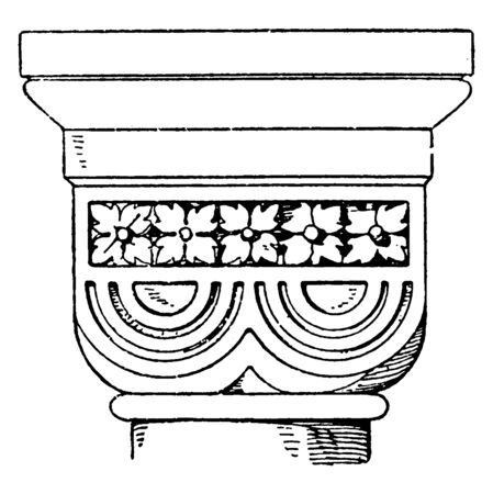 Romanesque Double-Cushion Capital, it is an 11th century design found, the Rosheim church in France, a design of a half sphere, vintage line drawing or engraving illustration. Vector Illustratie