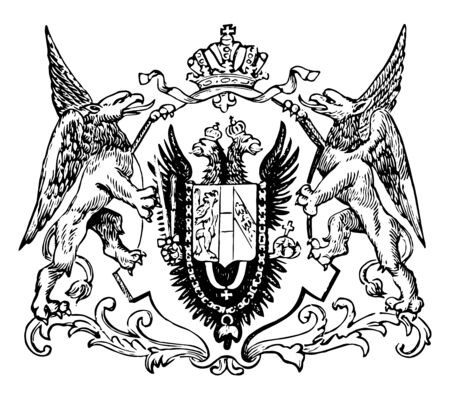 The Great Seal of the Austro-Hungarian Monarchy, vintage line drawing or engraving illustration.