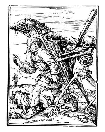 Dance of Death, The Pedlar from Hans Holbeins series of engravings, vintage line drawing or engraving illustration. Ilustração