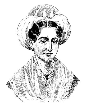 Mary Lyon, 1797-1849, she was an American pioneer in women's education and first president of mount Holyoke college, vintage line drawing or engraving illustration