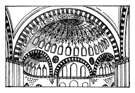 Suleimani Mosque, increased, lightness dome, magnificent, building , vintage line drawing or engraving illustration.