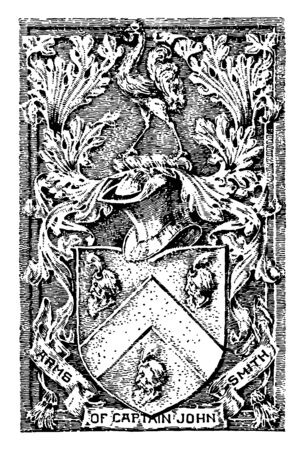 The coat of arms of Captain John Smith, it has a shield, in that three faces are printed, surrounded by flowers, there is a tag with ARMS OF CAPTAIN JOHN SMITH words, and hat on the shield vintage line drawing or engraving illustration