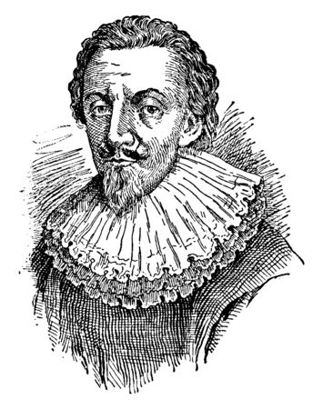 George Calvert, 1579-1632, he was an English politician, coloniser, and founder of Maryland colony, the first Baron Baltimore, vintage line drawing or engraving illustration