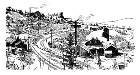 This illustration represents Cripple Creek Mine, vintage line drawing or engraving illustration.
